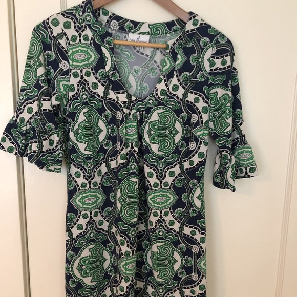 Jude Connally Nancy Blue/Green paisley dress sz S